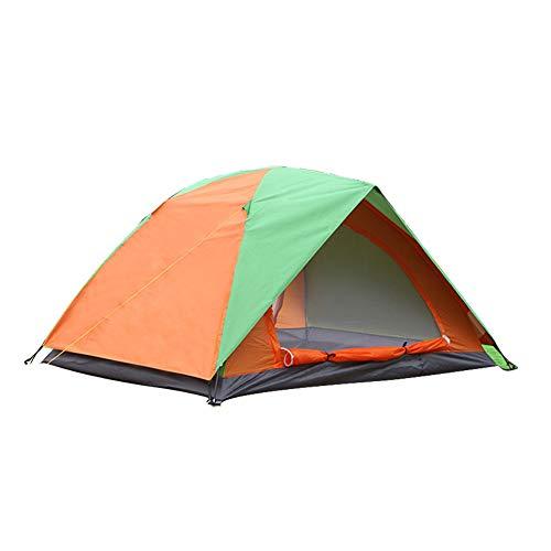 Kampeertent voor buiten Koepeltent Handige dubbellaagse dubbele tent met dubbele deur Bescherming tegen regen en zon Geweldig om te wandelen, backpacken en klimmen,Orange + green