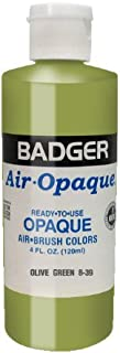 Badger Air-Brush Company Air-Opaque Airbrush Ready Water Based Acrylic Paint, Olive Green, 4-Ounce