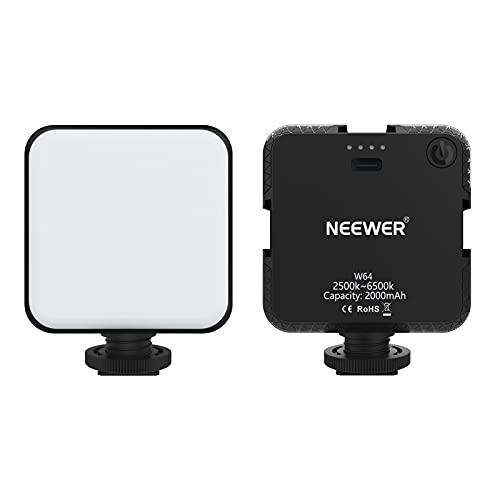 Neewer Mini Luce LED W64 per Video Reflex Digitali, Portatile Bicolore 2500-6500K con 2000mAh Batteria Ricaricabile & 3 Slitte Coldshoe, Luce Dimmerabile per Videoconferenze YouTube Fotografia