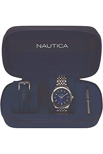 Nautica Damen Datum klassisch Quarz Uhr mit Edelstahl Armband NAPVNC008