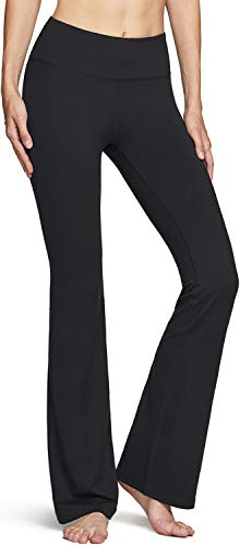 TSLA DRST Womens Bootcut Yoga Pants with Pockets, Tummy Control High Waist Bootleg Yoga Pants, 4 Way Stretch Workout Pants, Wonder(fbp64) - Black, Medium