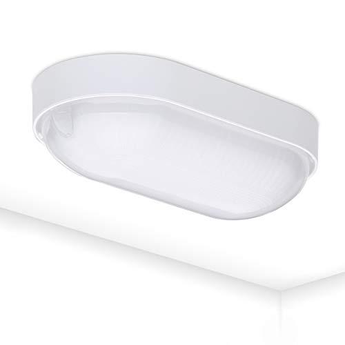 LED Kellerlampe Base 9W | Ovalleuchte Keller IP65 | Kellerleuchte 4000K Neutralweiß | Oval Leuchte weiß
