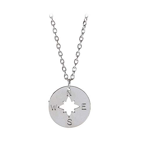 WPCASE Letter Necklace Compass Necklace Cute Necklace Sister Necklace Creative Necklace Necklace for Wedding Classic Necklace Girls Necklace Cheap Necklace Silver
