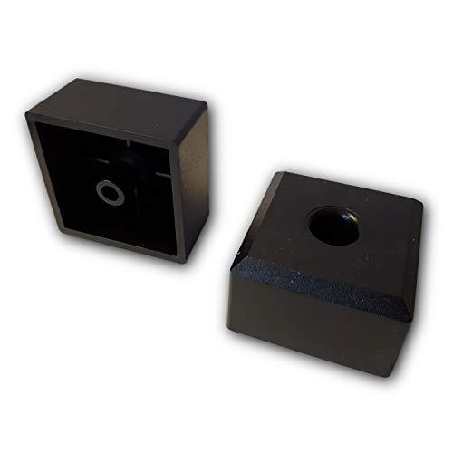 4 patas para muebles / patas acolchadas / discos deslizantes con bisel 50x50 mm plástico negro