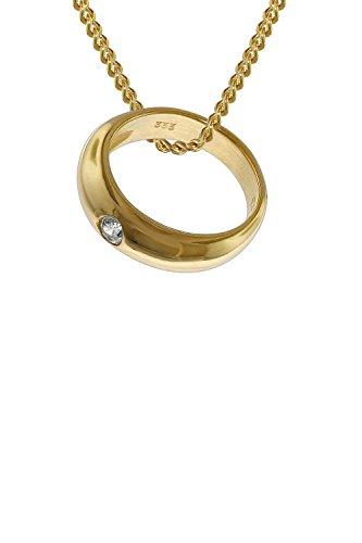 trendor Taufring mit Zirkonia 333 Gold an goldplattierter Kette 42 cm zauberhafter Taufschmuck für Mädchen, Jungen oder Mütter, Geschenkidee zur Taufe, 35767