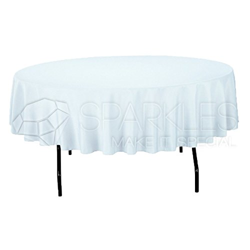 """Sparkles Make It Special 10-pcs 90"""" Inch Round Polyester Cloth Fabric Linen Tablecloth - Wedding Reception Restaurant Banquet Party - Machine Washable - White"""