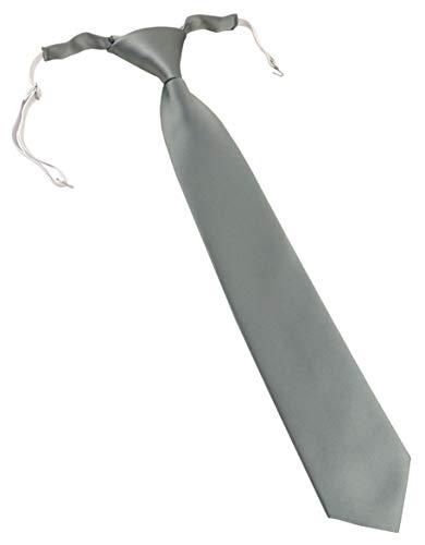 TigerTie Designer Security Sicherheits Krawatte in grau einfarbig Uni - vorgebunden mit Gummizug in weiß