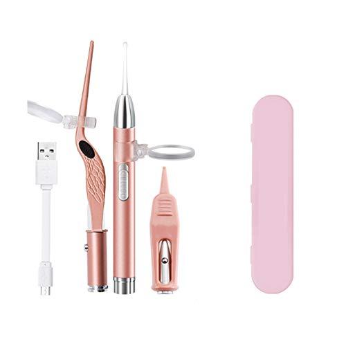 YPJKHM Juego de tapones para los oídos, herramienta de extracción de cerumen con kit de limpieza fácil para las personas, tapones para los oídos y pinzas con batería recargable