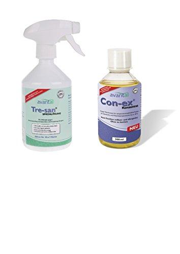 Con-ex Waschmittelzusatz gegen Milben 300ml + Tre-san Milbenspray bei Hausstaub Allergie 500ml wirkungsvolles Spray gegen Milben