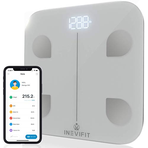 INEVIFIT Smart Body Fat Scale, Highly Accurate Bluetooth Digital Bathroom Body Composition Analyzer, Measures Weight, Body Fat, Water, Muscle, Visceral Fat & Bone Mass for Unlimited Users