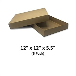 Brown Cardboard Kraft Apparel Decorative Gift Boxes with Lids for Clothing and Gifts, 12x12x5.5 (5 Pack) | MagicWater Supply