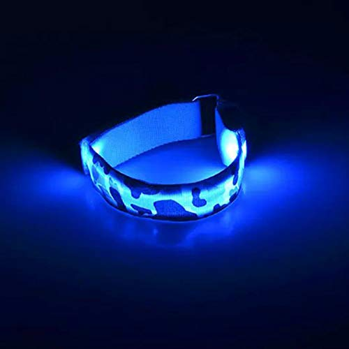 2X LED Safety Bands-Replaceable Battery - 3 Modes High Visibility Running Armbands with LED Lights,LED Armbands for Cycling Hiking Jogging Biking Outdoor Sports (Blue)