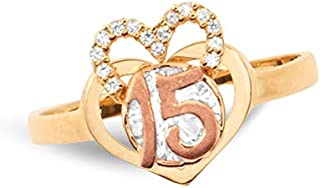 LoveBling 14k Two Tone 15 Anos Quinceanera Ring Heart Shaped with small half CZ Heart (Avialable in Sizes 5-9)