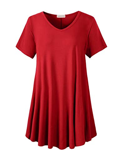 LARACE Tunics Short Sleeve Plus Size Casual Tops for Women V Neck Loose Fit Flowy Clothing for Leggings (Red 4X)