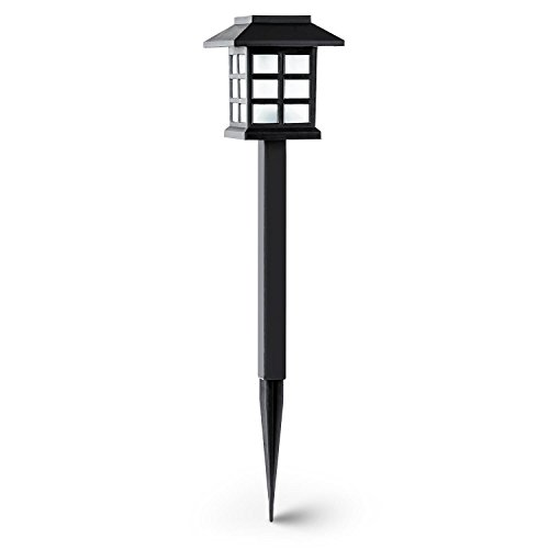 oneConcept Nagano lámpara de jardín diseño japones bateria carga solar duración 6 horas(6 unidades farolas, luces LED, independencia electrica, carcasa protectora salpicaduras, luz blanca)