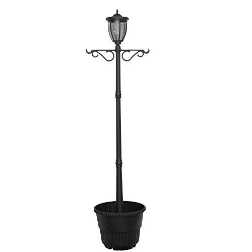 EdenBranch 7' Tall Kenwick Solar Lamp Post and Planter with Plants Hanger, Amber and White LEDs, Brown, Outdoor Lighting