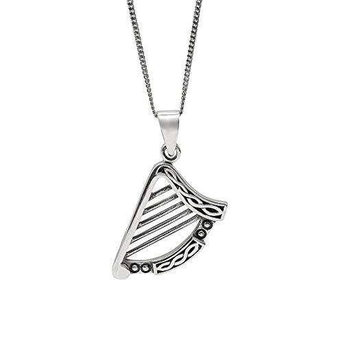 81stgeneration Unisex .925 Sterling Silver Irish Celtic Harp Pendant Necklace, 18'