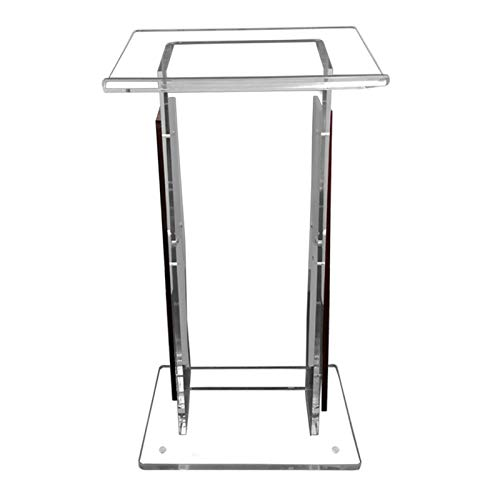 Stand-Up Presentation Lectern Wood Shelf Frame for Church School Conference Events Hotel Acrylic Podium Lectern Pulpit Lucite Clear Speaking Training Podium (Color : Clear, Size : 60X40X110cm)
