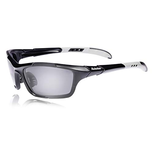 Hulislem S1 Sport Polarized Sunglasses For Men Women Mens Womens Running Golf Sports (Matte Black-Smoke)