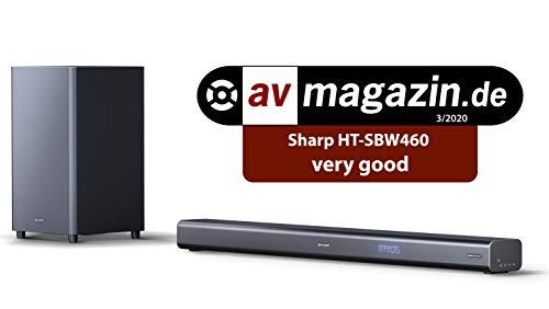 SHARP HT-SBW460, 3.1 Dolby Atmos Soundbar mit virtuellem 3D Surround Sound und kabellosem Subwoofer, Bluetooth, 4K-Erlebnis, HDMI ARC/CEC, Schwarz