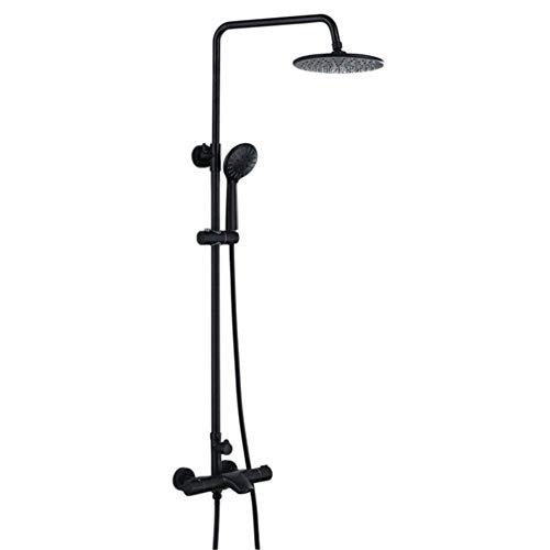 Taps, termostato, sistema de ducha de baño, ducha fijada en la pared, grifo de baño, ducha de pared de color negro y bronce con grifos de agua fría y caliente