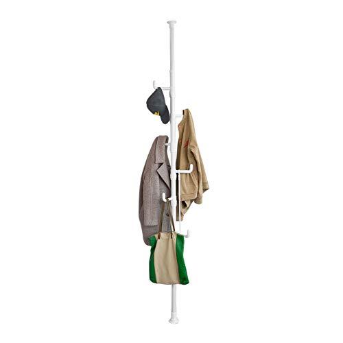 SoBuy FRG159-W Garderobe Kleiderständer Garderobenständer mit 6 Haken ohne Bohren Verstellbar 214cm-275cm hoch weiß