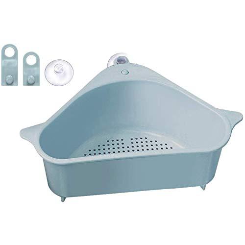 ZhZhCo Triángulo Externo Filtro de Fregadero Cesta de Almacenamiento Rack de succión, Estante de Drenaje de Fregadero, Esponja Marina, Adecuado para la Cocina Ángulos de Soporte de baño,Azul