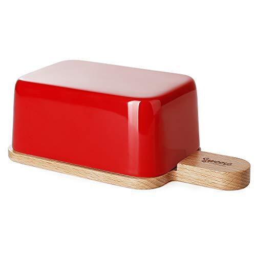 Sweese 323.104 Butterdose Porzellan mit Holzdeckel, für 250 g Butter, Rot