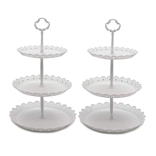 2 Pcs 3-Tier Cupcake Stand Fruit Plate Cakes Desserts Fruits Snack Candy Buffet Display Tower Plastic White for Wedding Home Birthday Tea Party Serving Platter