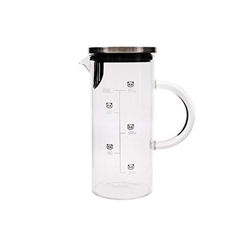 YIFEI2013-SHOP Jarra de Agua Tetera de Vidrio Recta de la Jarra de Vidrio Lindo con Escala con Filtro de Acero Inoxidable para té de Jugo frío/Bebida caliente-1000ml Jarras (Color : B)