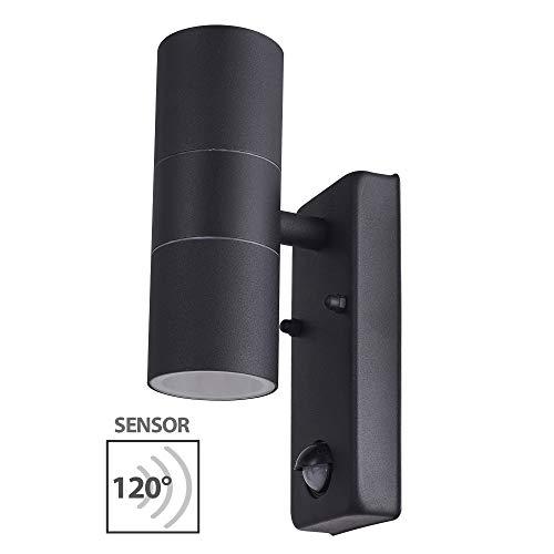 Außenleuchte Außenlampe Edelstahl Schwarz Wandleuchte mit Bewegungsmelder 109E Eingangsleuchte Lampe