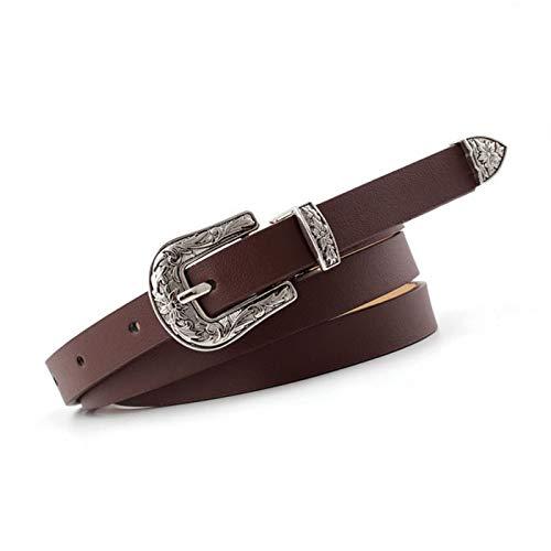 PmseK Cinturones Mujer,Cinturón Ladies Boho Vintage Belt Buckle Belt Woman Thin Narrow Black White Red Brown Leather Belts For Women Jeans Coffee 105CM