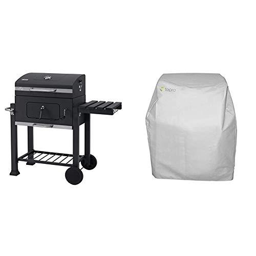 Tepro Toronto Click 2019 - Barbacoa de carbón/parrilla carro esmaltada, antracita/acero inoxidable + 8600 - Funda para barbacoa Toronto