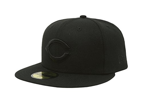 New Era 59Fifty Hat Cincinnati Reds MLB Basic Black Fitted Baseball Cap (8 1/8)