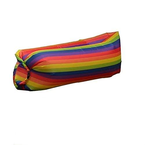 Sofá inflable, sillón, sofá inflable rápido portátil con bolsas, arco iris sofás perezosos, resistente al agua, a prueba de fugas, playa adecuada, piscina, camping, 240x70cm (color del arco iris)
