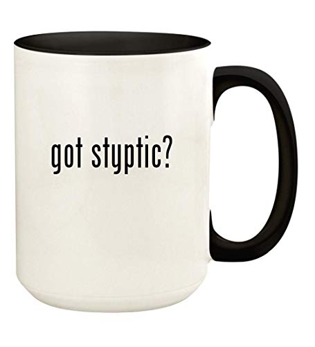 got styptic? - 15oz Ceramic Colored Handle and Inside Coffee Mug Cup, Black