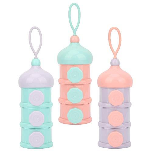 Babymilchpulver Formel Dispenser Stapelbar 3 Fächer Babynahrung Vorratsflasche Tragbare Reisen Säuglingsmilchpulver Behälter(lila)