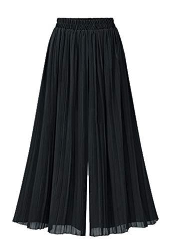 chouyatou Women's Elastic Waist A-Line Pleated Chiffon Cropped Wide Leg Pants Culottes (Large, Black)
