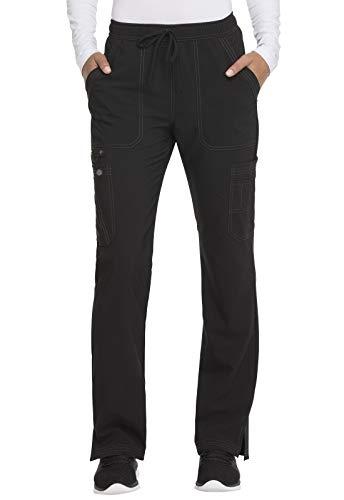 Dickies Advance Solid Tonal Twist Women's DK200 Mid Rise Boot Cut Drawstring Pant (Black, Small)