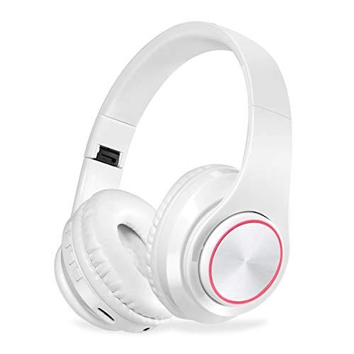 ShjjType Bluetooth koptelefoon, over-ear koptelefoon met krachtig basgeluid, 10 uur speelduur, geheugenproteïne-oorkussen, CVC6.0 microfoon handsfree bellen, wit