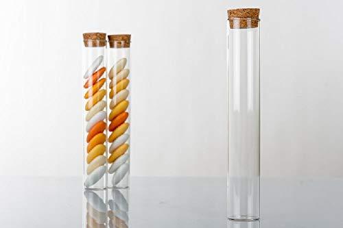 Unknow 48 unidades de probeta para peladillas de cristal de 15 x 2,5 cm de altura con tapón de corcho, bombonera