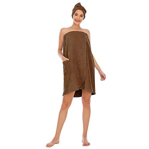 Juego de albornoz para mujer, toalla de baño para niña, vestido sin mangas, de rizo para spa, tubo grueso, ropa de dormir + cabezal de ducha de pelo, marrón, XXL