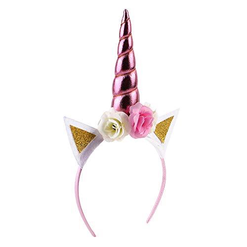 MagiDeal Serre-tête Licorne Floral Bandeau aux Oreilles Corne Accessoire Déguisement pour Enfants Filles - Rose