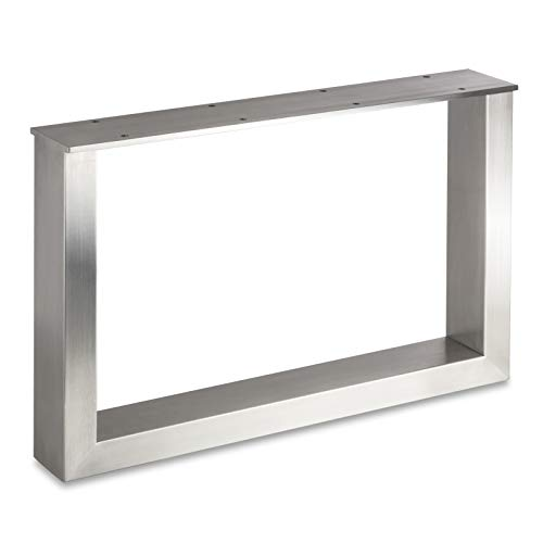 Tischgestell TAB Edelstahl gebürstet Profil 80 x 40 mm Höhe: 400 mm Tiefe 600 mm Tischkufen Industriedesign Tischuntergestell Tischkufe Kufengestell von Sotech
