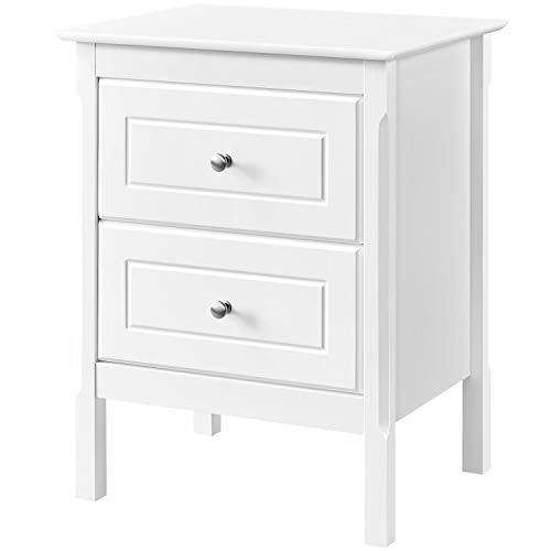 Yaheetech Bedside Table Storage Unit Nightstand, Contemporary White Sofa Side End Table with 2 Drawers for Bedroom, Living Room 48 x 40 x 61cm