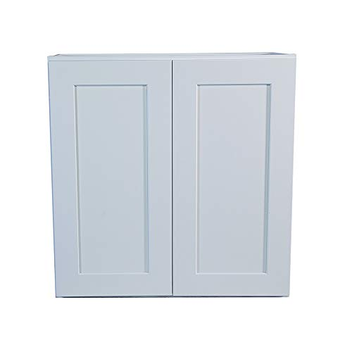 White Shaker Wall Cabinet with Self/Soft Close Hinges, All Solid Wood, RTA, Painted (33x36)