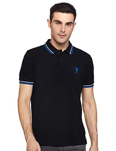 US Polo Association Men's Solid Regular fit T-Shirt (USTS6287_Black XL HS)