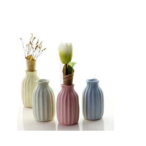 YDYX Macaroon Jarrón de cerámica Ikebana, arreglo de Flores, Recipiente Decorativo para hidroponía, difusor de Varillas (4 Unidades), Multicolor