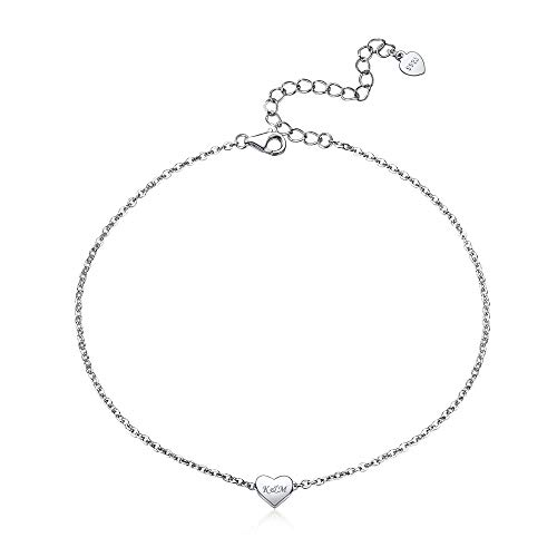 Engraved Charm Heart Anklet Sterling Silver Women Girls Summer Ankle Bracelet 22+5cm Extender Personalized Boho Jewelry
