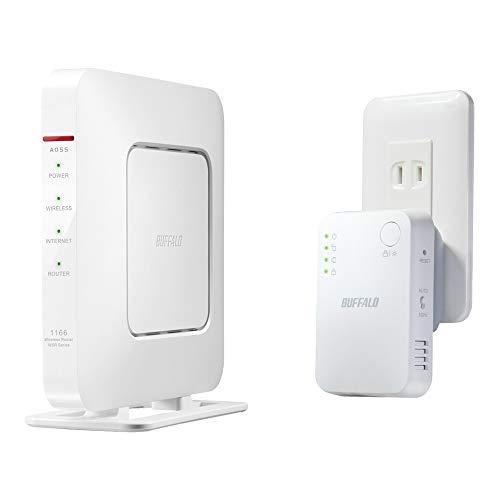 BUFFALO WiFi 無線LAN 親機+中継機セットモデル WSR-1166DHP4/E 11ac 866+300Mbps IPv6対応 デュアルバンド テレワーク 日本メーカー【iPhone12/11/iPhone SE(第二世代) メーカー動作確認済み】